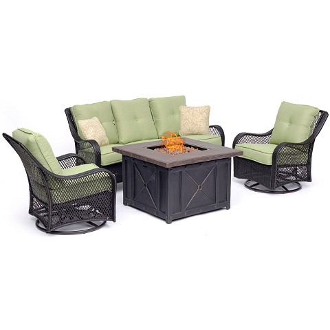 Hanover Orleans 4-Piece Woven Fire Pit Lounge Set in Avocado Green with Sofa, 2 Swivel Gliders and Durastone Fire Pit, ORL4PCDFPSW2-GRN