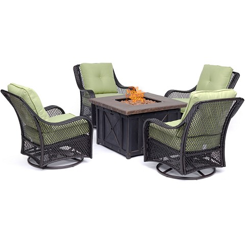 Hanover Orleans 5-Piece Fire Pit Chat Set in Avocado Green with 4 Woven Swivel Gliders and a Durastone Fire Pit, ORL5PCDFPSW4-GRN