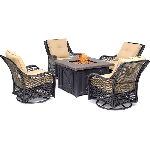 Hanover Orleans 5-Piece Fire Pit Chat Set in Sahara Sand with 4 Woven Swivel Gliders and a Durastone Fire Pit, ORL5PCDFPSW4-TAN