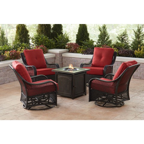 Hanover Orleans 5-Piece Fire Pit Chat Set in Autumn Berry with 4 Woven Swivel Gliders and a 26-In. Square Fire Pit Table, ORL5PCFPSQ-BRY