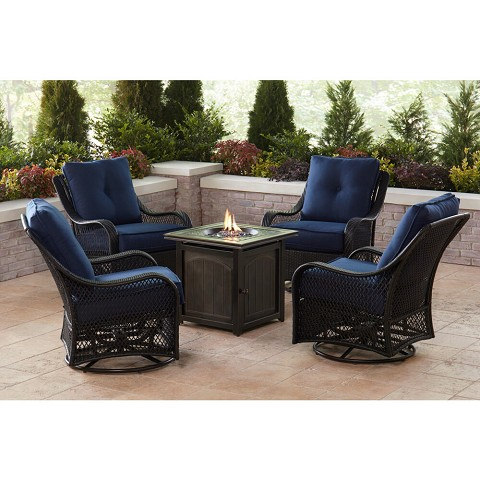 Hanover Orleans 5-Piece Fire Pit Chat Set in Navy Blue with 4 Woven Swivel Gliders and a 26-In. Square Fire Pit Table, ORL5PCFPSQ-NVY