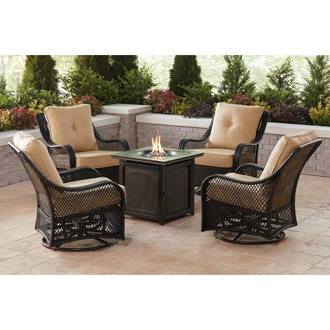 Hanover Orleans 5-Piece Fire Pit Chat Set in Sahara Sand with 4 Woven Swivel Gliders and a 26-In. Square Fire Pit Table, ORL5PCFPSQ-TAN