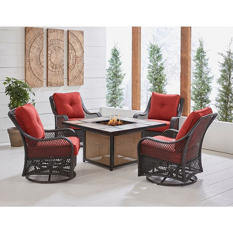 Hanover Orleans 5-Piece Woven Fire Pit Chat Set in Autumn Berry with 4 Woven Swivel Gliders and 40,000 BTU Tile-Top Fire Pit Table, ORL5PCTFPSW4-BRY