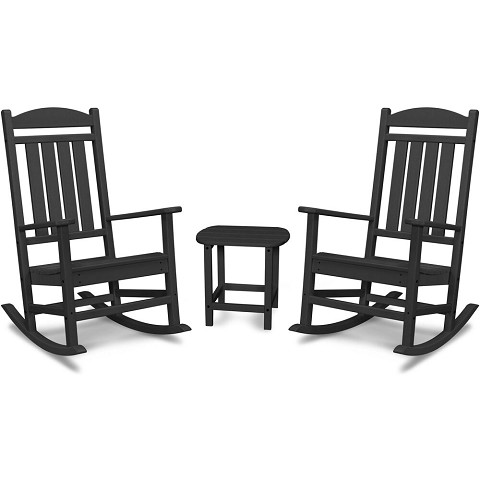 "Hanover Pineapple Cay All-Weather Porch Rocking Chair Set with 2 Rockers and an 19"" x 15"" Side Table Side Table in Black, PINE3PC-BLK"