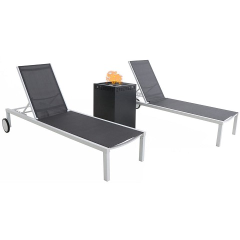 Mod Furniture Peyton Modern Outdoor Chaise Lounge Chair with All-Weather Aluminum Frames, Gray Sling, Wheels, 40,000 BTU Gas Fire Pit, PYTNCHS-W-NVY