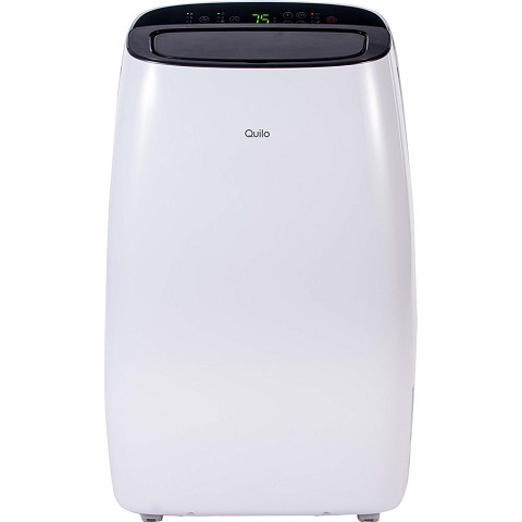 Quilo Portable Air Conditioner with Dehumidifier & Fan for Rooms Up To 450 Sq. Ft. with Remote Control in White/Black, QP110WK