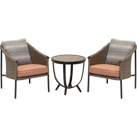 Mod Furniture Santa Fe 3-Piece Modern Outdoor Chat Set with Hand Woven All-Weather Wicker and Stylish Boho Plush Cushions and Back Pillows, SANTAFE3PC