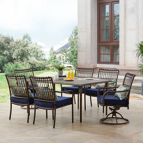 Hanover Summerland 7-Piece Outdoor Dining Set with 4 Stationary Chairs, 2 Swivel Rockers, and a 68 x 40 Faux-Wood Table, SUMDN7PCSW2-NVY