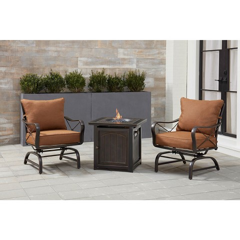 Hanover Summer Nights 3-Piece Fire Pit Chat Set in Desert Sunset with 2 Cross-Back Rockers and a 26-In. Square Fire Pit Side Table, SUMMRNGHT3PCFPSQ