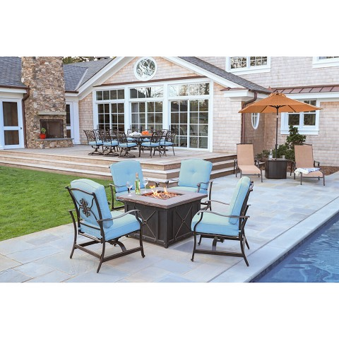 Hanover Summer Nights 5-Piece Fire Pit Patio Set with 4 Cushioned Rockers in Blue and 40,000 BTU Propane Gas Fire Pit, SUMMRNGHT5PCBLU