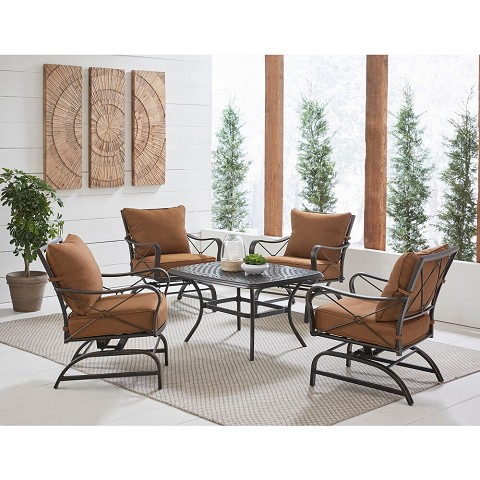 Hanover Summer Nights 5-Piece Conversation Set with 4 Cross-Back Rockers and a Cast-Top Coffee Table, SUMMRNGHT5PCCT
