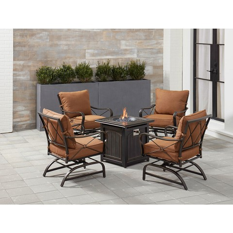 Hanover Summer Nights 5-Piece Fire Pit Chat Set in Desert Sunset with 4 Cross-Back Rockers and a 26-In. Square Fire Pit Table, SUMMRNGHT5PCFPSQ