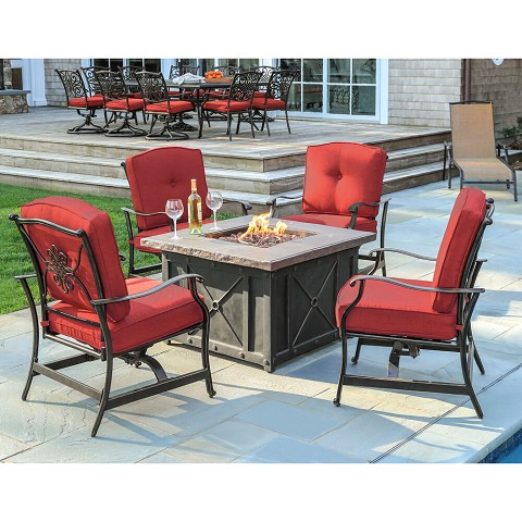 Hanover Summer Nights 5-Piece Fire Pit Patio Set with 4 Cushioned Rockers in Red and 40,000 BTU Propane Gas Fire Pit, SUMMRNGHT5PCRED