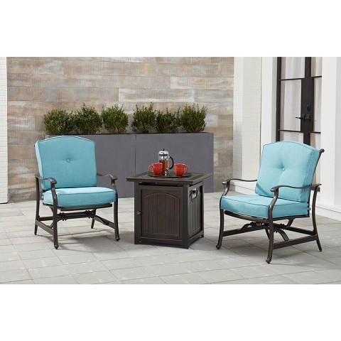 Hanover Traditions 3-Piece Fire Pit Chat Set in Blue with 2 Cushioned Rockers and a 26-In. Square Fire Pit Side Table, TRAD3PCFPSQ-BLU
