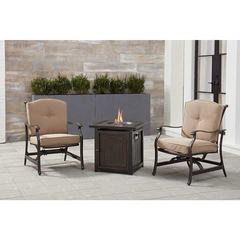 Hanover Traditions 3-Piece Fire Pit Chat Set in Natural Oat with 2 Cushioned Rockers and a 26-In. Square Fire Pit Side Table, TRAD3PCFPSQ-TAN