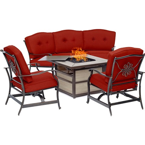 Hanover Traditions 4-Piece Fire Pit Lounge Set in Red with Crescent Sofa, 2 Cushioned Rockers and Square KD Tile-Top Fire Pit, TRAD4PCSQFP-RED