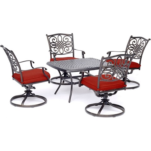 "Hanover Traditions 5-Piece Patio Set in Red with Four Swivel Rockers and a 32"" x 38"" in. Cast-top Coffee Table - TRAD5PCCTSW4-RED"