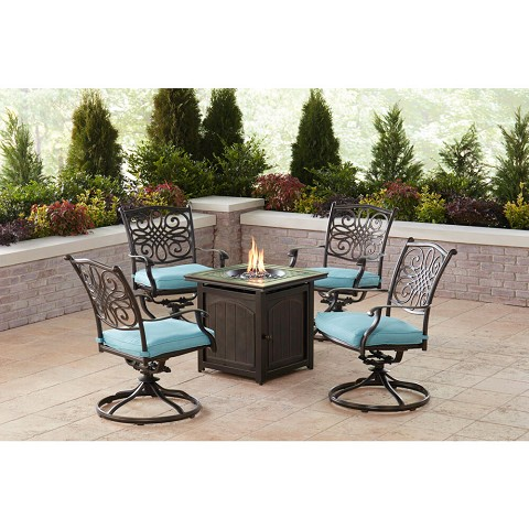 Hanover Traditions 5-Piece Fire Pit Chat Set in Blue with 4 Swivel Rockers and a 26-In. Square Fire Pit Table, TRAD5PCSWFPSQ-BLU