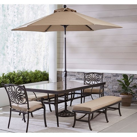 Hanover Traditions 5-Piece Outdoor Dining Set in Tan with 2 Dining Chairs, 2 Benches, XL Glass-top Table, 11 Ft. Umbrella and Base - TRADDN5PCGBN-SU-T