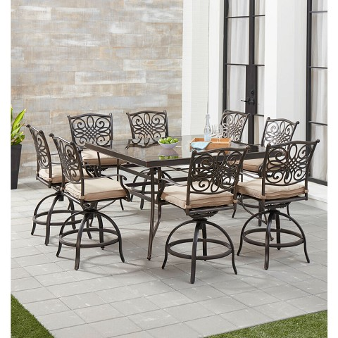 Hanover Traditions 9-Piece High-Dining Set in Natural Oat with 8 Swivel Chairs and a 60 In. Square Glass-Top Table, TRADDN9PCBRSQG-TAN