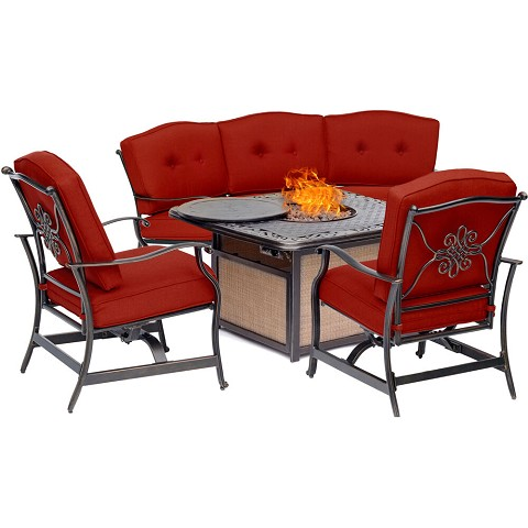 Hanover Traditions 4-Piece Outdoor Lounge Set in Red with Cast-Top Fire Pit, TRADITIONS4PCFP-RED