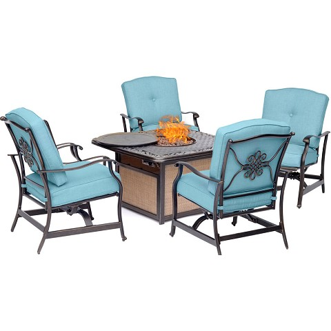 Hanover Traditions 5-Piece Seating Set in Blue with Cast-Top Fire Pit Table, TRADITIONS5PCFP-BLU