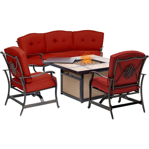 Hanover Traditions 4-Piece Outdoor Lounge Set in Red with Tile-Top Fire Pit, TRADTILE4PCFP-RED