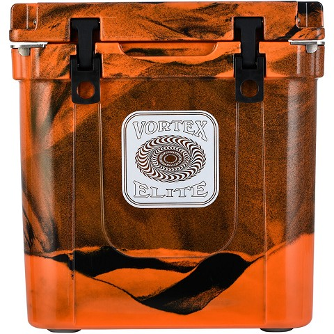 Vortex Elite Series 33-Quart Rotational-Molded Customizable Cooler System in Blaze Orange Camo, VE33BOC