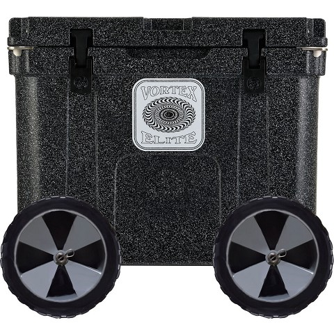 Vortex Elite Series 55-Quart Rotational-Molded Customizable Cooler System with 2 Sets of Beach Wheels, Basalt, VE55BAS-2BW-KIT