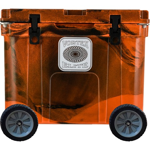 Vortex Elite Series 55-Quart Rotational-Molded Customizable Cooler System with 2 Sets of Standard Wheels, Blaze Orange Camo, VE55BOC-2SW-KIT
