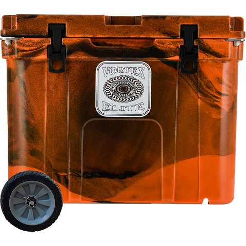 Vortex Elite Series 55-Quart Rotational-Molded Customizable Cooler System with 1 Set of Standard Wheels, Blaze Orange Camo, VE55BOC-SW-KIT
