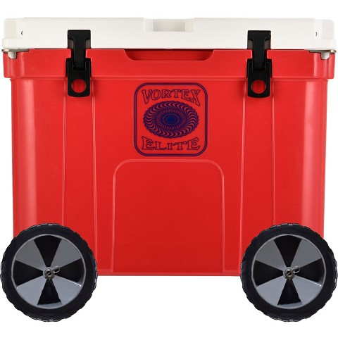 Vortex Elite Series 55-Quart Rotational-Molded Customizable Cooler System with 2 Sets of Beach Wheels, Red, VE55RED-2BW-KIT