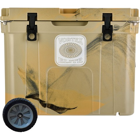 Vortex Elite Series 55-Quart Rotational-Molded Customizable Cooler System with 1 Set of Standard Wheels, Tan, VE55TAN-SW-KIT