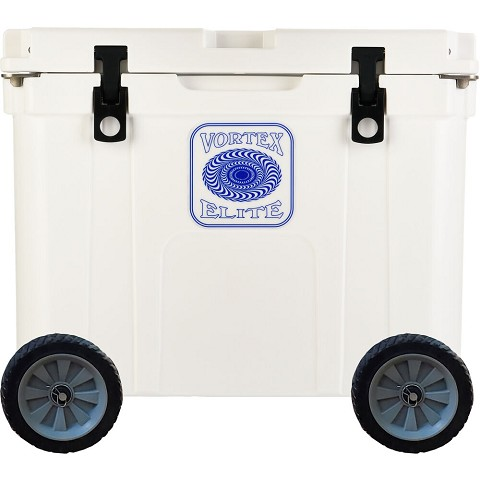 Vortex Elite Series 55-Quart Rotational-Molded Customizable Cooler System with 2 Sets of Standard Wheels, White, VE55WHT-2SW-KIT