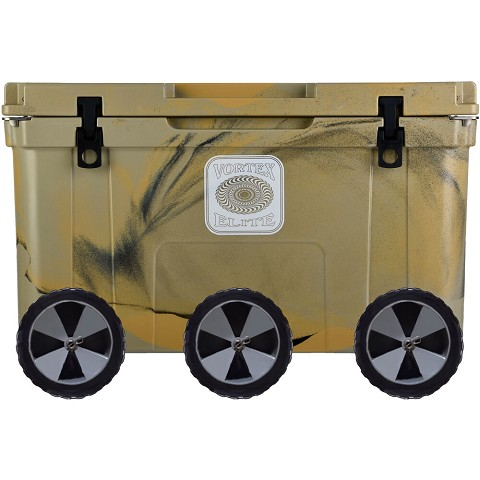 Vortex Elite Series 78-Quart Rotational-Molded Customizable Cooler System with 3 Sets of Beach Wheels, Tan, VE78TAN-3BW-KIT