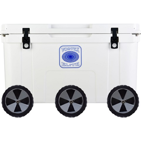 Vortex Elite Series 78-Quart Rotational-Molded Customizable Cooler System with 3 Sets of Beach Wheels, White, VE78WHT-3BW-KIT