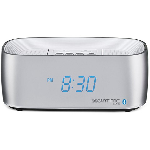 Conairtime Bluetooth Alarm Clock with Dual USB Charging Ports in Silver, WCL75S